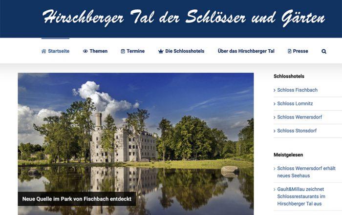 Screenshot Neue Homepage Tal der Schlösser